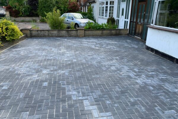 grey brick block paving driveway installed in st albans