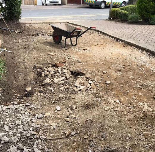 customer driveway before we paved it