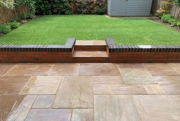 indian sandstone patio and new lawn laid in st albans