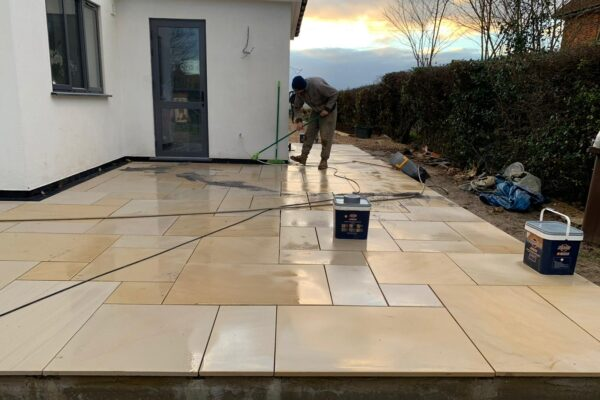Sawn Owned Smooth Sandstone Patio in St Albans