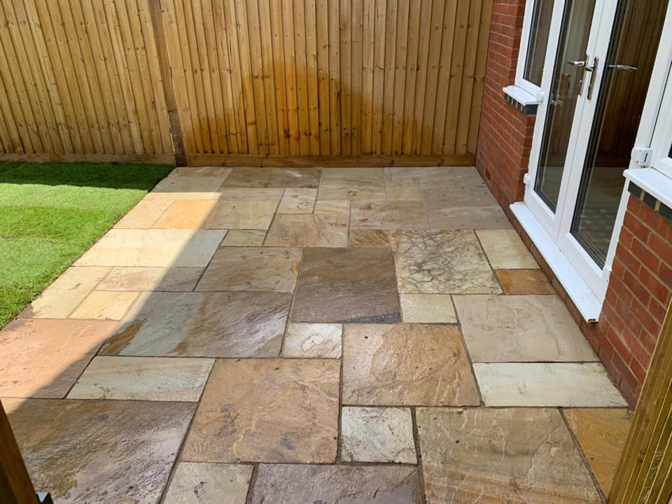 indian sandstone patio after