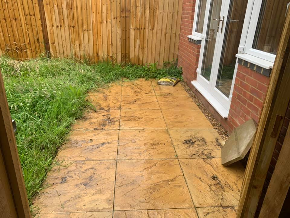 indian sandstone patio before