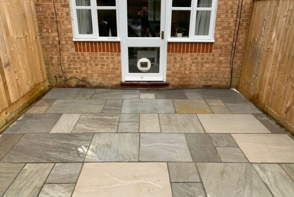 new indian sandstone patio laid in harpenden
